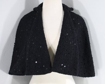 1950s Black Wool Capelet, Small to Large | 50s Black Sequin Cape (XS, S, M)