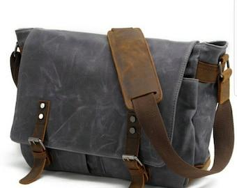 Men's Canvas Laptop Messenger Bag. Real Leather, Waterproof, Crossbody, Shoulder Bag. Beautiful Dark Grey Canvas.