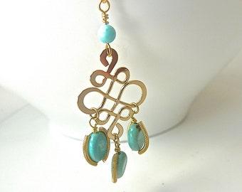 Sale- Aqua Mint Seafoam Blue  Infinity Golden Necklace with Turquoise Jewels.