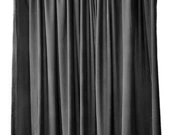 Black Velvet Curtain 96 Inch High Long Panel Custom Made Size Length Drapes  Home Living Room