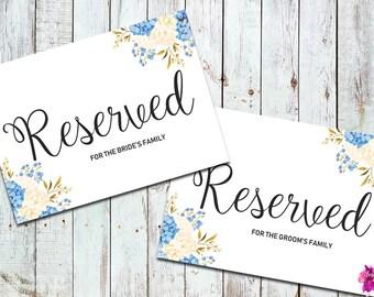 Wedding Reserved Sign Printable, Wedding Reserved Row Sign, Flower Reserved Sign, Wedding Reserved Card, Wedding Reserved Chair Sign