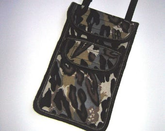iPhone 7 Plus Cover crossbody bag neck pouch cellphone case two pocket mobile Purse Phone Bag large smartphone cover Leopard pattern