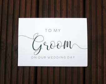 To My Groom On Our Wedding Day Simple Calligraphy A5 Card with Envelope