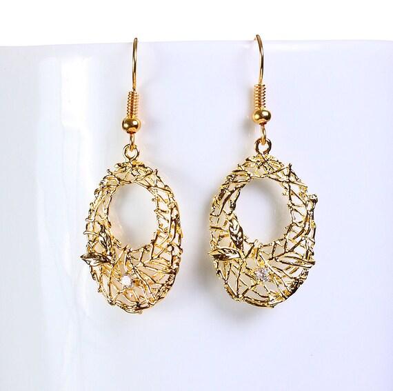 Gold plated rhinestone oval filigree drop dangle earrings (649)