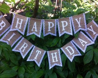 Happy Birthday Banner,  Happy Birthday Sign, Happy Birthday Burlap Lace Banner, Birthday Party Banner, Birthday Decorations,  Photo Prop