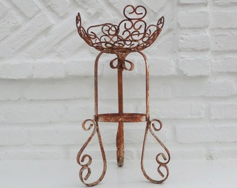"Vintage Chippy Wrought Iron Plant Stand, 16.5"" Tall"