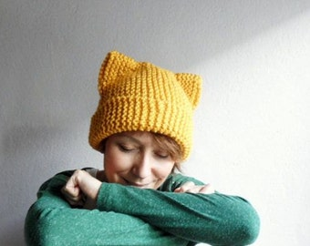 Cat Ears Hat, Knit Cat Ear Beanie, Cat Beanie, Cat Hat, Chunky Knit, Mustard Yellow,Winter Accessories