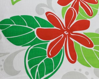 Hawaiian Print with White Background (Yardage Available)