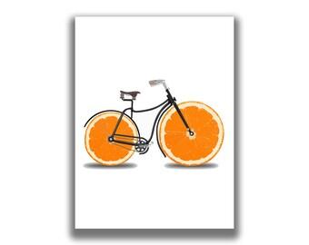 Vintage Fruit Bike, Graphic Design, Digital Download,Pop Art Print, Concept, Illustration, Food, Vintage, Bike, Ride, Bicycle, Fruit Bicycle