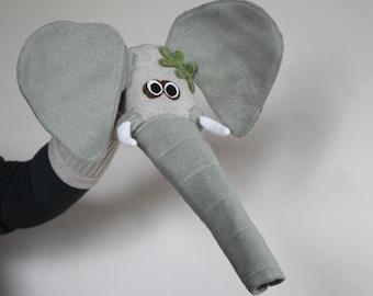 Handmade Elephant Sock Puppet