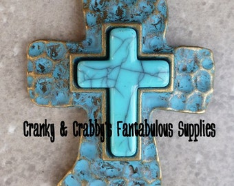 Patina Look Cross with turquoise Pendant - 52mm x 38mm - Antiqued