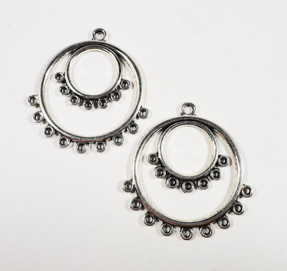 Hoop earring connectors 36x34mm antique silver chandelier earring hoop earring connectors 36x34mm antique silver chandelier earring findings connector findings connector pendants jewelry findings aloadofball Choice Image