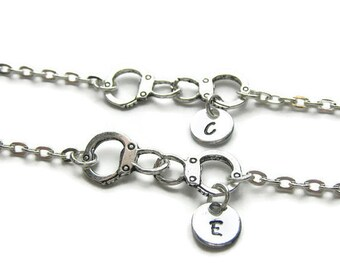 2 Personalized Partners In Crime Bracelets, 2 Best Friends Bracelets, Handcuff Bracelets, Initial Bracelets, Partners In Crime, Monogram