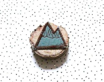 Mountain fabric brooch pin green double gauze of water, original Bohemian brooch, mountain shape