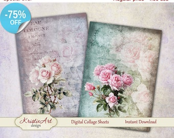 75% OFF SALE Beautiful Roses cards Printable download digital collage sheets, Large digital image,Transfer Images for bags books fabrics
