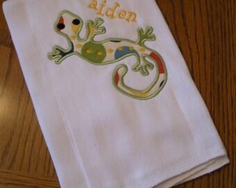 Baby Boy Appliqued Lizard Burp Cloth