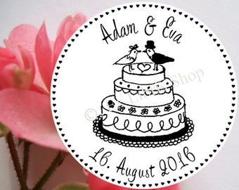 """Personalized wedding stamp """"wedding cake"""", rubber stamp, wedding invitation DIY, custom wedding stamp, save the date stamp, name stamp, 821"""