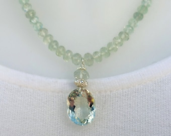 Luxury necklace, green amethyst & flourite, sterling silver, artisan quality, fine jewelry, unique design
