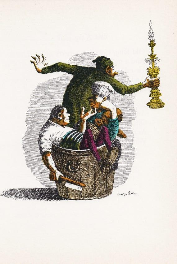 """Illustration of nursery rhyme """"Rub-a-Dub-Dub 3 men in a tub"""" by Mervyn Peake, 1975 book illustration, 9.75 x 7 inches"""