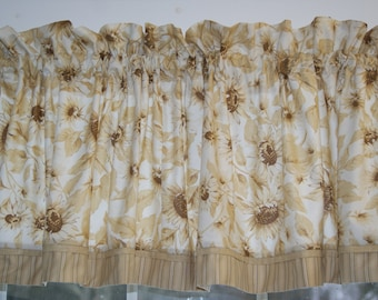 """Beige Brown White Floral Toile Valance 17"""" x 68"""" Curtain Window Treatment Alter"""