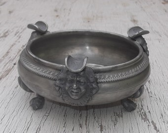 Antique Italian Pewter Ashtray, Rococo Head Design, Footed, Tobacciana