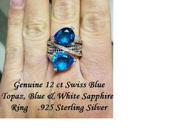 Genuine 12 ct Swiss Blue Topaz, Blue & White Sapphire Ring Size 7
