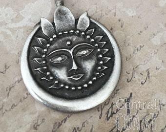 Surya Sun God Pendant - Oxidized Antique Silver - Greek Casting 38mm x 29mm - Hindu Yoga Meditation Thai Bohemian - Central Coast Charms