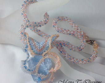 Blue Beach Glass Necklace....EBW team..pink, salmon, blue, glass