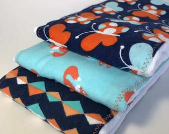 Foxes and Butterflies Burp Cloths