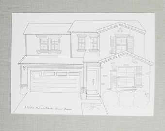 Custom House Sketch | Home Illustration | Black and White Ink | Housewarming Gift | Real Estate Gift