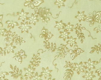 Organza fabric with butterflies in green with glitter, width 29 cm, sold by the meter