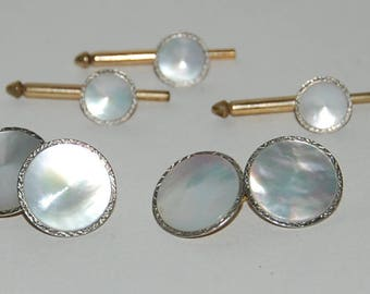 1950s Era Swank Mother of Pearl Tuxedo Studs and Links Set -- Free Shipping!