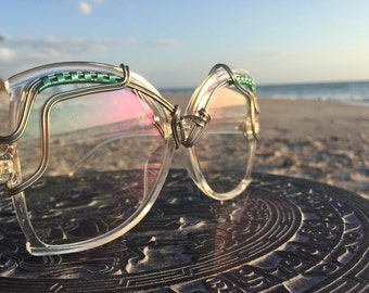 PERFECT FiT Lightweight HuGE Clear Sunglasses, All SiLVER Wire Wrap, Oversized Sunglasses, SPUNGLASSES, Festival Burning Man Sunglasses, NEW
