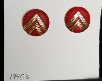 Earrings- 1990's red dot style