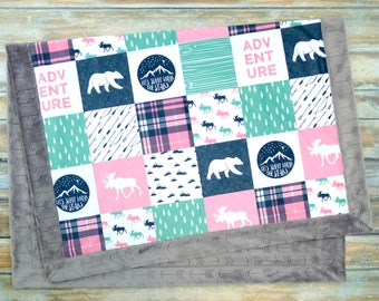 Baby Blanket - Faux Patchwork Quilt - Moose Baby Blanket - Bear Baby Blanket - Baby Gift - Baby Blanket Girl - Minky Baby blanket - Hot Pink