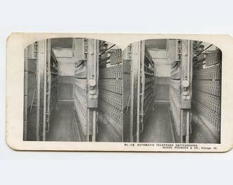 Stereoview Card - Telephone Switchboard & Old Telephone - Sears Roebuck