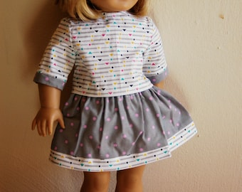 Matching Patterned Skirt and Shirt for 18 inch Doll