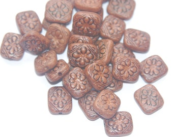 Vintage Style Cocoa Powder Etched Tablet  Beads bds380F