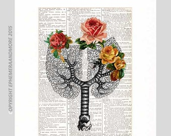TREE OF LIFE art print wall decor Human Lungs Woodland Roses Birds on vintage dictionary book page human anatomy pulmonary doctor 8x10, 5x7
