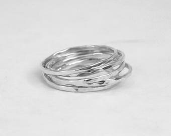 Five Sterling Silver Stacking Rings