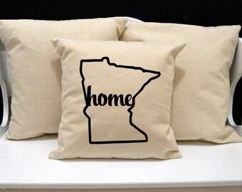 Minnesota Home Pillow, Minnesota Pillow, home pillow, pillow gift, Minnesota gift, Envelope Pillow Cover, state pillow, MN pillow, 20x20