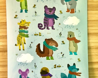 Sad and Indifferent Animals Wearing Scarves sticker sheet