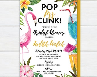 Flamingo Cocktail Bridal Shower Invitation, Pop Fizz Clink Let's Flamingle Tropical Bridal Shower Invite, Pink and Gold Printable Invitation