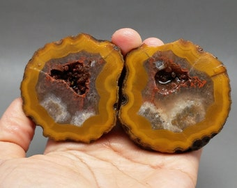 Pair of Rough(Unpolished)Agate/Achat Nodule Specimen /Chinese Fighting Blood Agate/Jewelry Making/Collecting  Xuanhua Hebei China XH-163