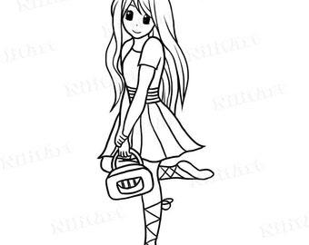 Girl Digital Stamp, ballerina Stamp, Handbag Digital Stamp, girl stamp, digital image,  NilitArt IMG 114