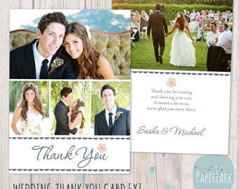 Wedding Thank You Card - Photoshop template - AW009 - INSTANT DOWNLOAD