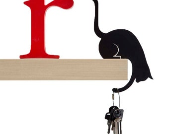 "Balance Hanger // Cat Shaped Hook Rack // Bag and Key-chain Holder // Home Decor Designed Gift // ""Hold It - Louis' Paw"" by ArtoriDesign"