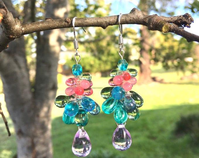 Featured listing image: Czech Glass Bubble Earrings, Cluster Earrings