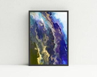 Blue Abstract Wall Art - Marble Printable Wall Art - Geologic Wall Art - Digital Art Download - Masculine Wall Art - Earth Tones Wall Art