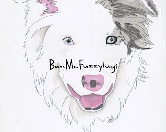 Benutzerdefinierte Hund Zeichnung - Beispiel Blue Merle Border Collie Hund Portrait. Digitale Datei. Personalisierte Border Collie Kunst